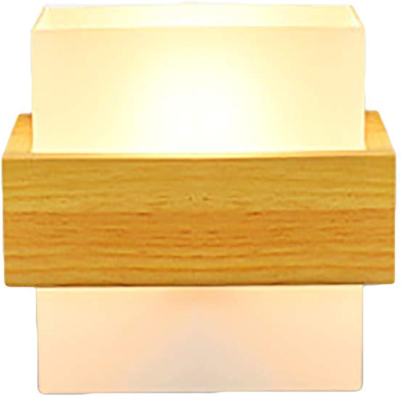 Oevina Mode LED Holz Wandleuchte, Moderne energiesparende dekorative schne Glas Wandleuchte für Wohnzimmer Schlafzimmer Korridor Wandleuchte E27 (Farbe   Gelb, Größe   22x16cm)