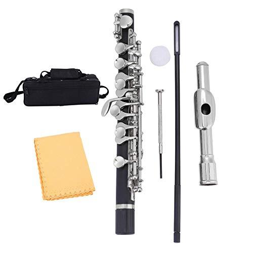 Nannday Piccolo C Key, flautín Plateado de tamaño Medio flautín Ottavino C Key Tone con Estuche Acolchado, Varilla y paño de Limpieza, Grasa de Corcho, Regalos para Estudiantes Principiantes(Plata)