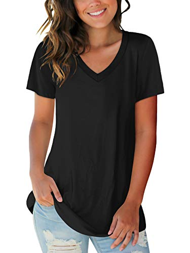 Womens Tops V Neck Short Sleeve Summer Tee Shirts Tops Tunic Tunic Black M