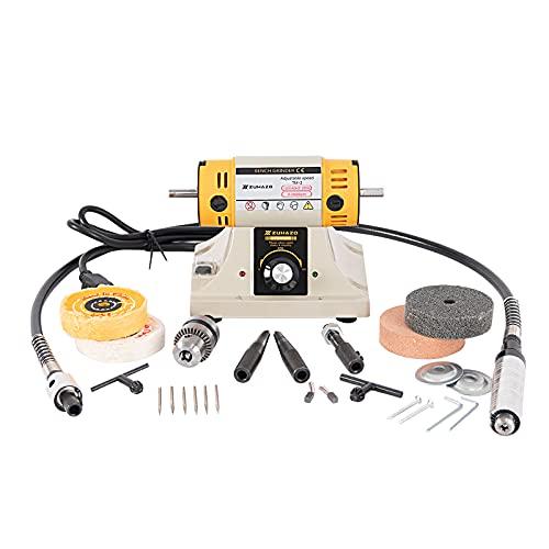 ZUHAZO Multifunctional Bench Grinder , Adjustable Speed Polishing Machine, 110v, 200w Actual Power, Bench Lathe, Polishing Machine Used For Jewelry Making, Woodworking, Dentistry, Manual DIY.
