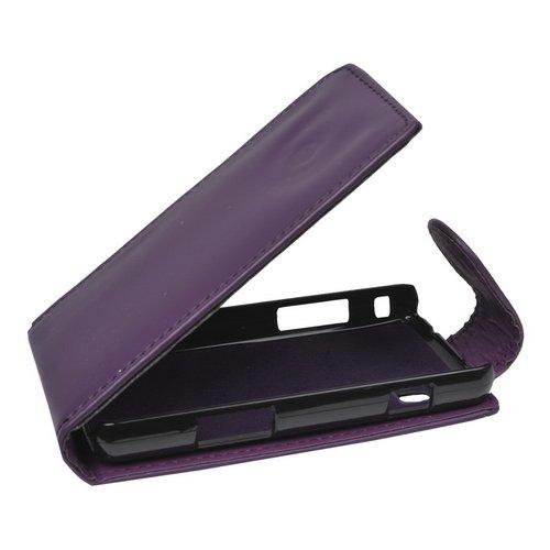 Mobilfunk Krause - Flip Hülle Etui Handytasche Tasche Hülle für Samsung GT-S5260 / S5260 (Violett)