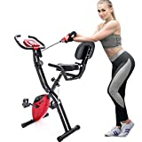 Merax 3 in 1 Adjustable Folding Exercise Bike Convertible Magnetic Upright Recumbent Bike with Arm Bands (Red&Black)