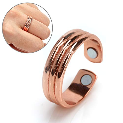 Copper Magnetic Therapy Ring - Magnetic Ring Copper Arthritis Aid Therapy Pain Healing Health Adjustable Size (Rose Gold)