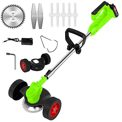 Cordless String Trimmer,24V Electric String Grass Trimmer Weed Eater with Batteries and Wheel,Adjustable Length,Electric Lawn Edger for Outdoor Yard (Green)
