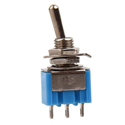 KU Syang 5 x Interruptor de Palanca Auto Bloqueo CA 250V/3A 120V/6A ON-OFF 2 Posicion SPDT