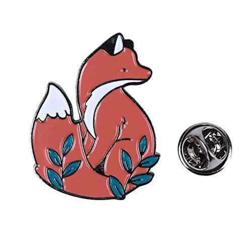 Kissherely 1 Stück Nette Fox Emaille Pin Schöne Cartoon Tiere Brosche Schmuck Geschenk Mantel Taschen Zubehör (Silber)