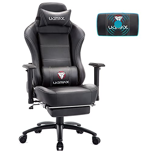 UOMAX Gaming Stuhl mit Massage, Ergonomischer Gaming Sessel mit Breites flaches Kissen, Racing Computer Gamer Sessel mit Fußstütze, Kohlefaser E-Sports Spielesitz aus PU Leder Gamer Stuhl(Schwarz)