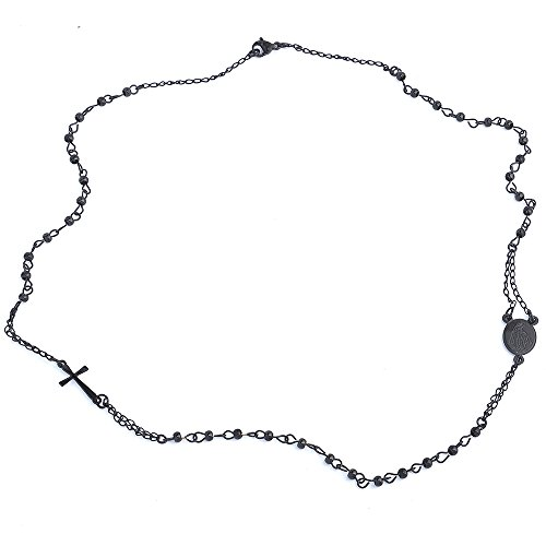 Beloved - Collar unisex con rosario, gargantilla con colgante de acero inoxidable, con y sin cristales, diseño de colgante de virgen y cruz Total Black