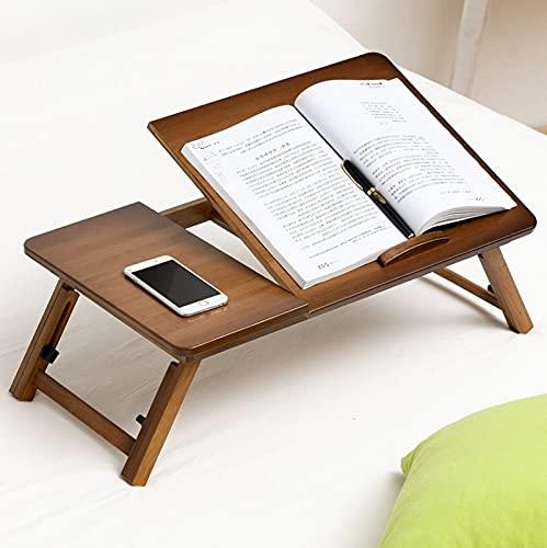 MOHAMED Letto Uso Pieghevole in Altezza Regolabile per Laptop Desk Desk Dormitorio Scrivania, Specifiche: Colore Classico di tè 64 cm bambù Spessa Alta qualità