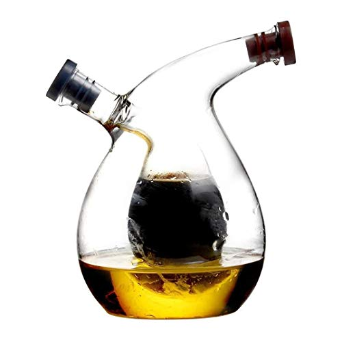 GAOTTINGSD Bottiglia Olio Oliera Salvagoccia Olio d'oliva e aceto Bottiglia Dispenser Trasparente Cucina 2-in-1 di Vetro Rotonda Doppio Vetro Dispenser Bottiglia