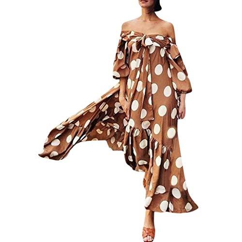 Dtuta Abendkleider Lang Grosse GröSsen Hochwertig Ladies Fashion Polka Dot Print Eine Schulter GekräUselt Lose DüNne Wilde Einfache Kleid Fashion Week Special