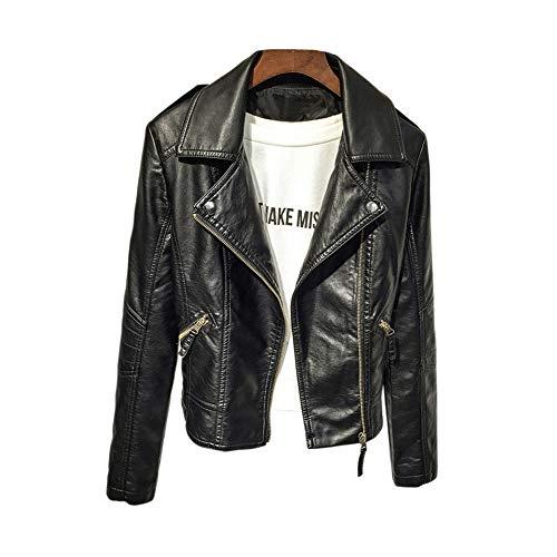 GuoCu Faux Leather Jacket,Mujer Abrigo Biker de Cuero Cazadora Polipiel Vintage de...