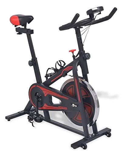 Bicicleta de Spinning con Pantalla, Bicicleta Estática con Sensores de Pulso, Sillín y Manillares Ajustables, Controles de Resistencia de Múltiples Niveles