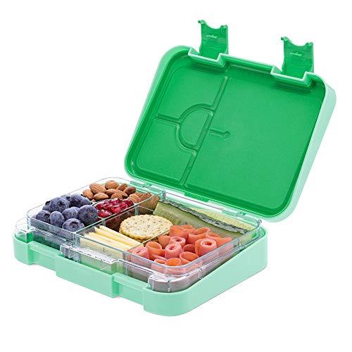 Navaris Bento Box Lunch Box Brotdose Vesperbox - auslaufsicher mit variablen Fächern - herausnehmbare Innenschale - für Jungs und Mädchen - grün