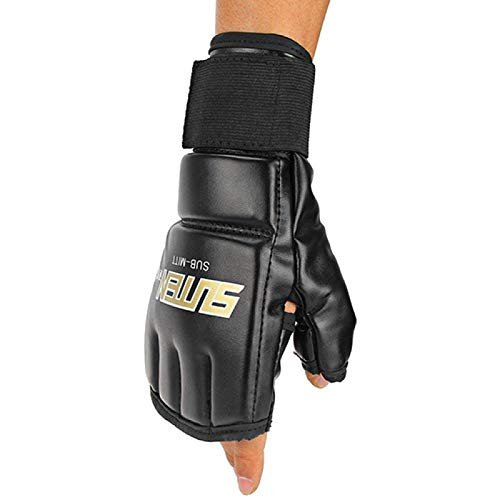 XQxiqi689sy 1 par UFC MMA Muay Thai Sparring Kickboxing Guantes Gimnasio Thai Sparring Entrenamiento Boxeo Punch Ultimate Mitts Fingerless Elite Sports Boxeo Guantes - Negro Gloden