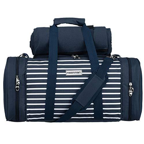anndora Picknick Kühltasche inkl. Picknick Decke Geschirr Besteck für 4 Personen blau weiß gestreift