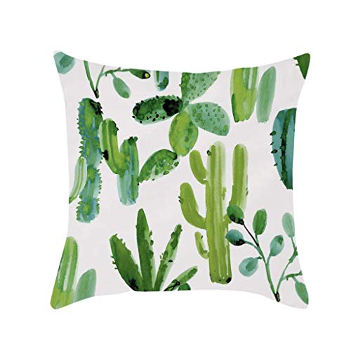 Watopi Summer Tropical Cactus Succulent Cushion Cover Plants Pillow Covers Watercolor Pillowcase Flower Cushion Cover