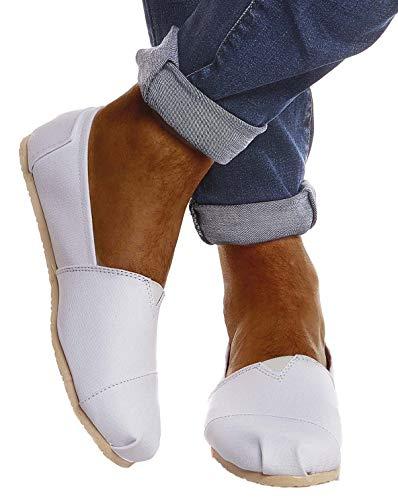 Leif Nelson Herren Espadrilles Gestreifte Schuhe für Freizeit Urlaub Freizeitschuhe für Sommer Flache Männer Sommerschuhe Sneaker Weiße Schuhe für Jungen Slipper LN101S; 42, Weiß