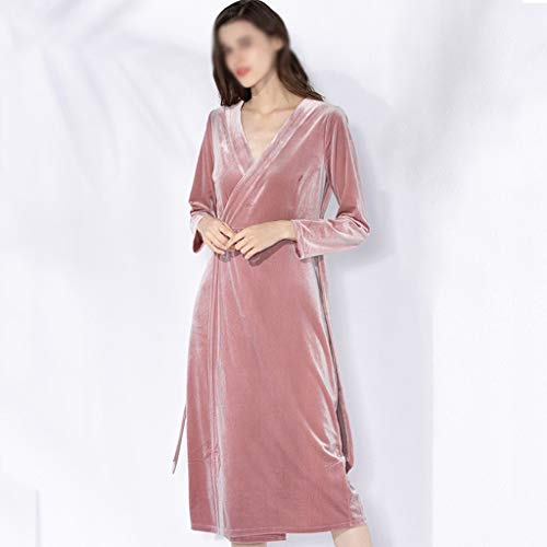 LXDWJ Mujeres Albornoz Elegante Homewear Soft Nightwear Sexy Home Dresswear Ropa de Dormir Largo Velvet Dormido-Vestido Femenino Nighdress (Size : Medium)