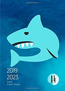 2019-2023 Five Year Planner A4 Ocean Sharks Goals Monthly Schedule Organizer: 60 Months Calendar; Agenda Appointment Diary Journal With Address Book, ... Notes, Julian Dates & Inspirational Quotes