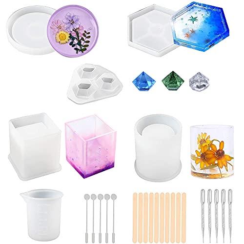 26 Piezas Molde Silicona Resina, Molde Silicona Moldes Resina Epoxi Moldes incluye Hexagonal/Redondo/Cilíndrico/Diamond/Cuadrados para Pendientes, Collares, Pulseras, Regalo para Mujeres Niñas