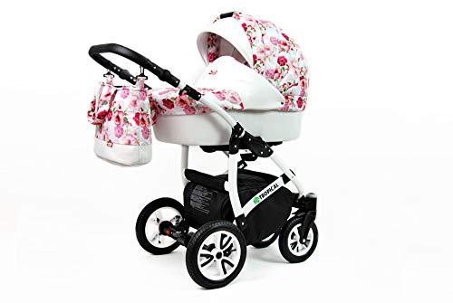 Lux4Kids Kinderwagen Jungle 3in1 2in1 Megaset Buggy Autositz Babyschale Sportsitz Hibiscus 2in1 ohne Autositz