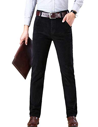 Yeokou Men's Casual Warm Solid Color High Waist Corduroy Long Pants with Pockets(Black-32)