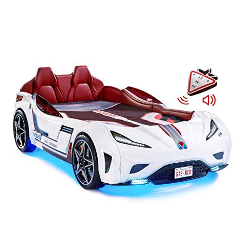 White GTS Race Car Bed, with Remote Control, LED Headlights, Engine Sound, Upholstered Headboard, Interior Padding, Window Railings, Vanity License Plate