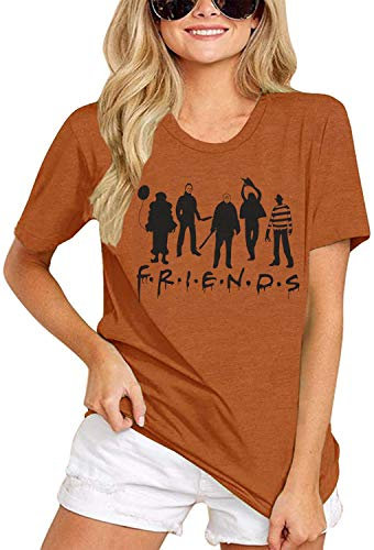 Friends Halloween Horror Movie Shirt Women Funny Michael Myers Novelty Graphic Casual Fall Top Blouse (Orange, M)