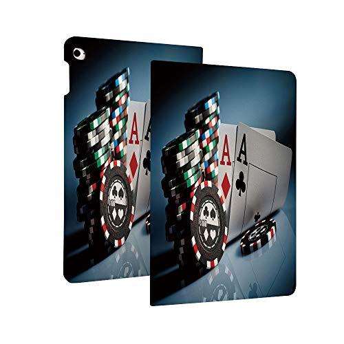 Poker Tournament dekorationer fodral för ny iPad 10.2 2019 (7:e generationen), spelchips och par kort ess kasino omsättningar spel risk ultratunn PU-läder lätt stående fodral med auto släde