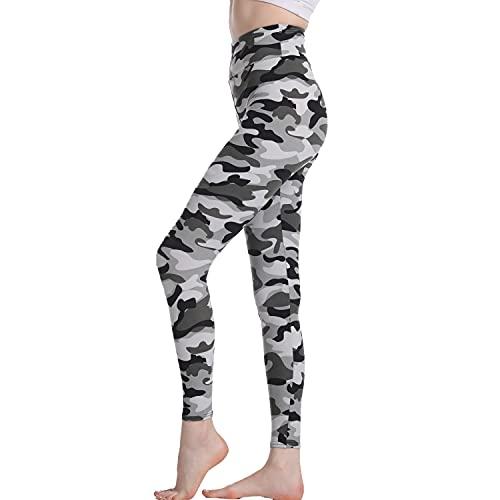 BESIDE STAR 2 Piezas Leggings de Yoga para Mujer con patrón de Camuflaje Cintura elástica Pantalones de Mujer para Deporte y Ocio, Mallas Running Mujer Gris XL