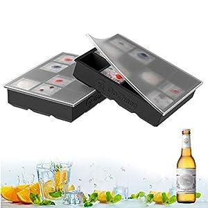 Bandeja De Hielo De Silicona, 2 Pc Cubitera Hielo Molde para Hielos con 12 Compartimentos, Bandeja de Cubitos de Hielo para Congelarse Alimentos para Bebés, Cócteles, Cola, Whisky (negro, 2 pack)