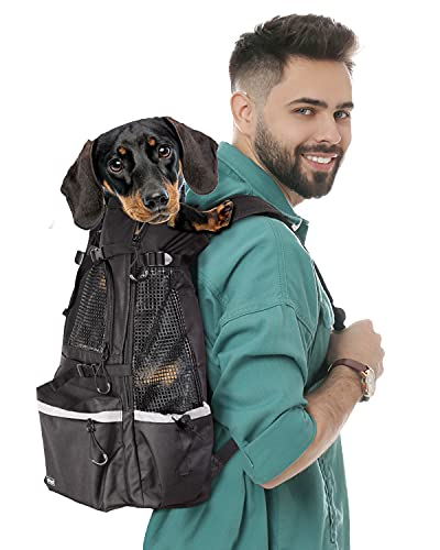 Dogs Backpack Carrier for Small Medium Dogs, Pet Travel Carrier, Great for Hiking Cycling Subways Traveling Shopping, with Adjustable Booster Block and Breathable Mesh