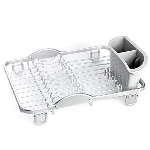 Aluminum Compact sinkin Dish drying Rack with Removable Cutlery Holder Counter top Kitchen Silver (TK19003)