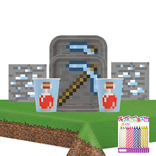 Minecraft Theme Party Supplies Pack Serves 16: Dessert Plates Beverage Napkins Cups and Table Cover with Birthday Candles (Bundle for 16)