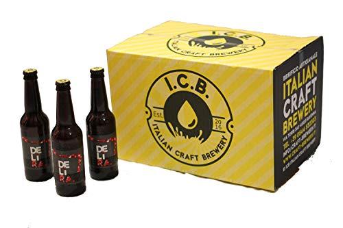 Birra Artigianale Italiana DELìRA Lager Rossa - Confezione 24 Bottiglie 33cl - Prodotta da I.C.B. Italian Craft Brewery