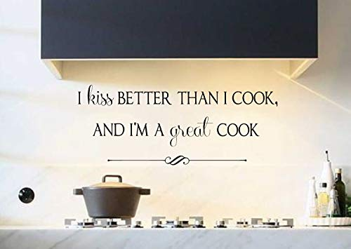 "Vinilo adhesivo de pared para cocina, diseño de texto en inglés""Kiss Better Than I Cook and Im a Great Cook"