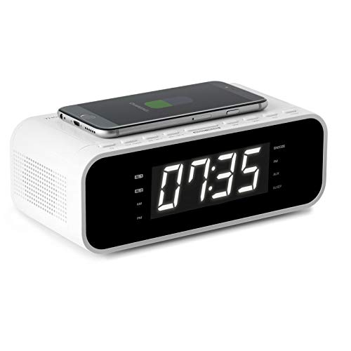 Thomson CR221I - Radio despertador (Cargador inalámbrico de inducción, AUX-IN 3.5 mm, radio FM, USB, doble alarma) color blanco