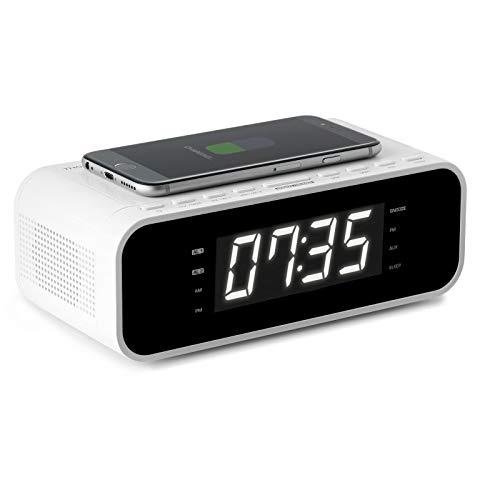 Thomson Dubbel Alarm Wekkerradio - Inductie Telefoon Oplader - Wit