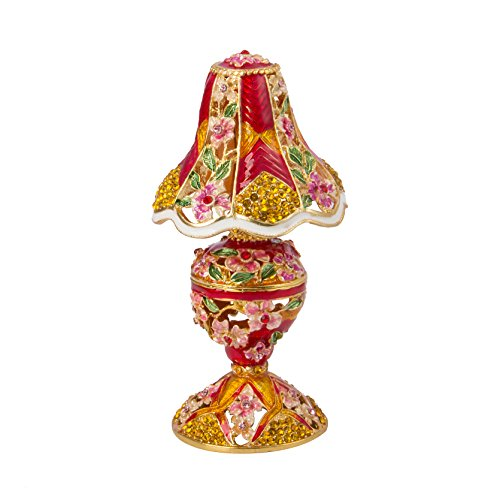 QIFU Hand Painted Enameled Table Lamp Style Decorative Jewelry Trinket Box Unique Gift For Home Decor And Collect