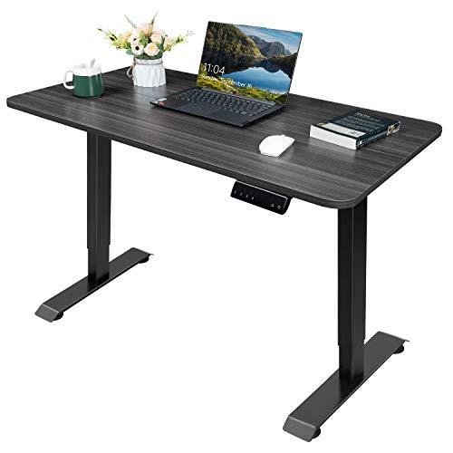 Homall Höhenverstellbarer Schreibtisch 110 cm Elektrisch Stufenlos Ergonomischer Computertisch mit Holz Tischplatte und Memory Funktion (Grau)