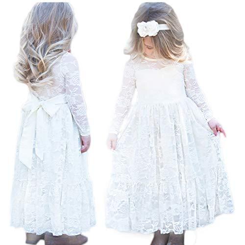 CQDY Prinzessin Spitzenkleid für Mädchen Hochzeit Blumen Kleid Partykleid mit großen Bogen, Elfenbein, 4-5 Jahre
