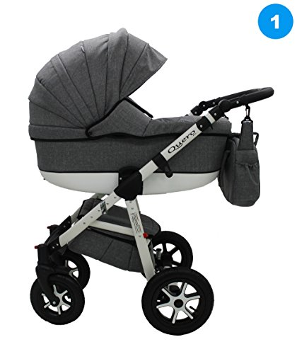 Kombi Kinderwagen Travel System QUERO BABYSPORTIVE 3in1 Buggy Sportwagen + Babyschale Carlo 0-10kg (1. anthrazit)