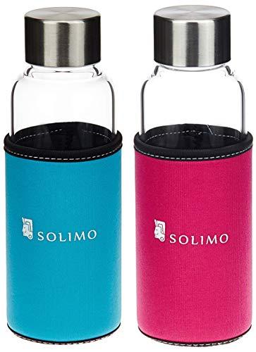 Amazon Brand - Solimo Borosilicate Glass Sports Bottle, 450 ml, Blue and Borosilicate Glass Sports Bottle, 450 ml, Pink Combo