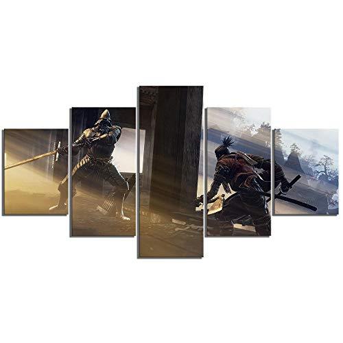 RuYun 5 stuks schaduw sterven twee keer spel kunstdruk canvas schilderij Wolf Ninja afbeelding wandschilderijen voor wooncultuur 30x40cm-2p 30x60cm-2p 30x80cm-1p No Frame