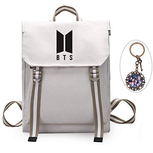YEeyuTrwd BTS Rucksack KPOP BTS Bangtan Boys Schulranzenrucksack Laptop/Hochschule/Büchertasche BTS Album Fans Tasche mit einem Weinles Schlüsselanhänger(Beige 1)