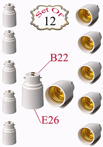 SleekLighting Bulb Adapters/Converts B22 Base to E26 Standard Base/Suitable for LED Halogen Lights/High Temperature Resistance/Made with Plastic and Metal - Set of 12
