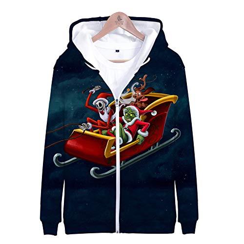 SUNCHTX Maglione con Giacca Sportiva con Motivo Neutro Traspirante E Felpa con Cappuccio A Maniche Lunghe con Cerniera Addensata con Stampa Colorata di Natale 3D A-0867 Green Mob-S