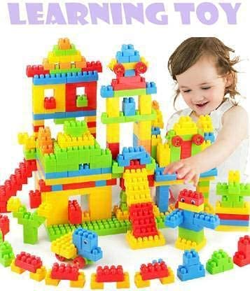 BVM GROUP Building Block 100 Pcs Creative Learning Educational and Entertaning Toy for Kids Puzzle Assemble Indoor Brain Game for Incrase IQ Level of Kids Children (with Bag ,Multicolored)