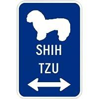 SHIH TZU マグネットサイン ブルー:シーズー(小) シルエットイラスト&矢印 英語標識デザイン Water Resistant&UV Coat U.